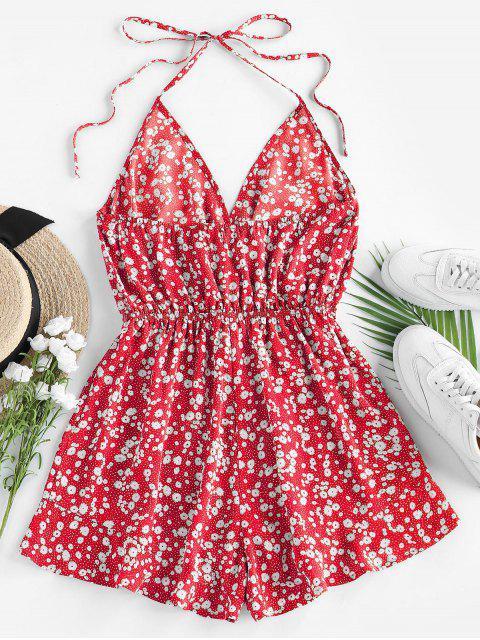 shop ZAFUL Ditsy Floral Tie Surplice Halter Romper - RED L Mobile