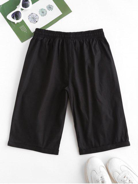 affordable Drawstring Pocket Rolled Cuff Boyish Shorts - BLACK L Mobile