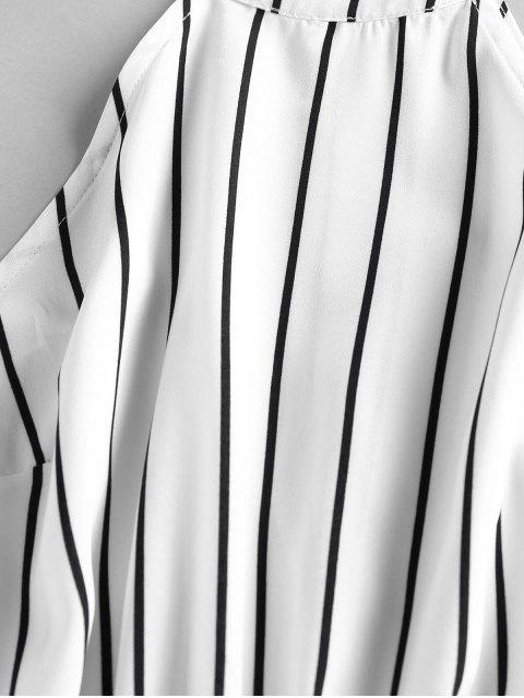 affordable ZAFUL Stripe Sleeveless Romper - MILK WHITE M Mobile