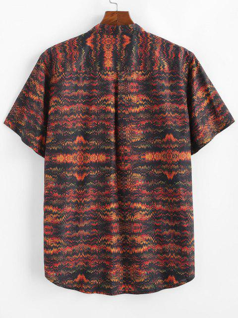 lady Tribal Print Half Button Short Sleeve Shirt - MULTI 2XL Mobile