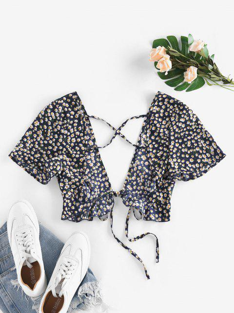 women ZAFUL Ditsy Floral Plunging Cross Ruffle Tie Top - MIDNIGHT BLUE XL Mobile
