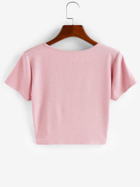 T-Shirt Corta a Costine con Bottoni di ZAFUL - Rosa S Mobile