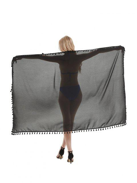 trendy Outdoor Tasseled Convertible Sarong Beach Throw - NIGHT W47 X L71 INCH Mobile