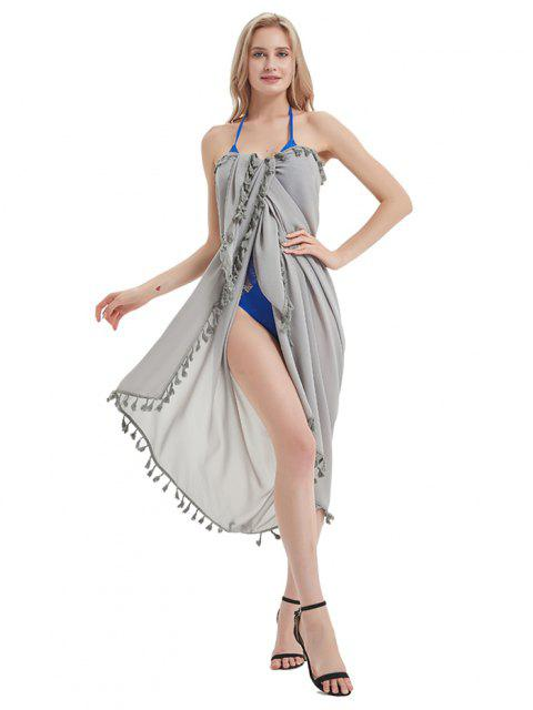 latest Outdoor Tasseled Convertible Sarong Beach Throw - GRAY CLOUD W47 X L71 INCH Mobile