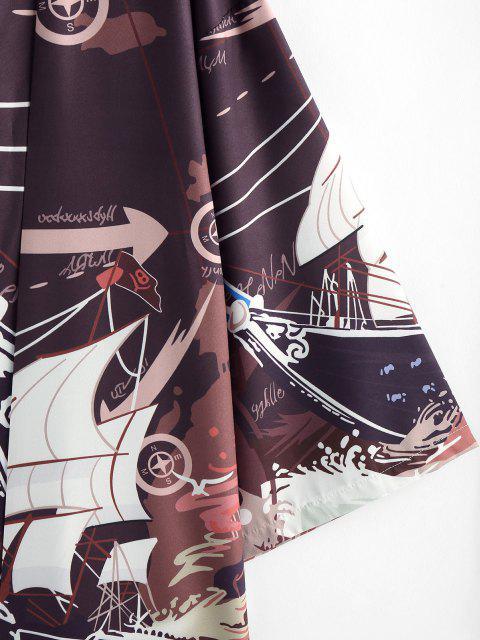 ZAFUL Cardigan Kimono Graphique Bateau Vague de L'Océan - Café profond S Mobile