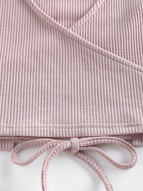 ZAFUL Lounge Gestrickte Tiefes Taschen Shorts Set - Hell-Pink S Mobile