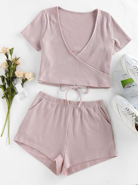 buy ZAFUL Lounge Knitted Plunging Pocket Shorts Set - LIGHT PINK M Mobile
