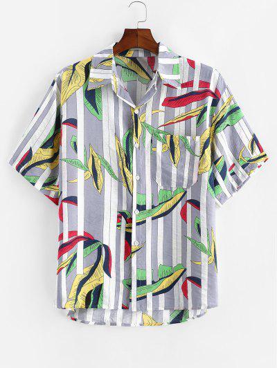 Leaves And Stripes Print Pocket Shirt - Gray 2xl