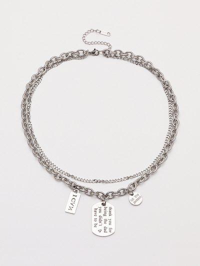 Collar De Cadena De Doble Capa Colgante De Estampado De Letras - Plata