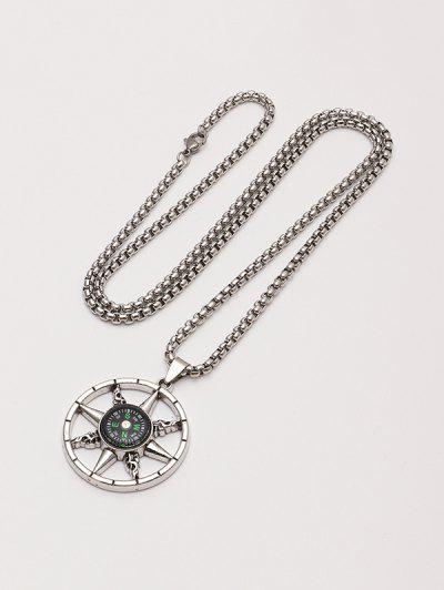 Compass Pendant Chain Necklace - Silver