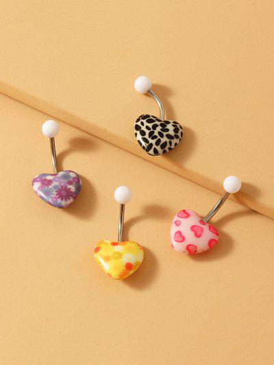 4Pcs Heart Shape Navel Ring Set - Multi-a