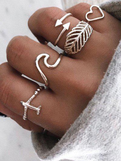 Blatt Herz Flugzeug Form Ringe Set - Silber