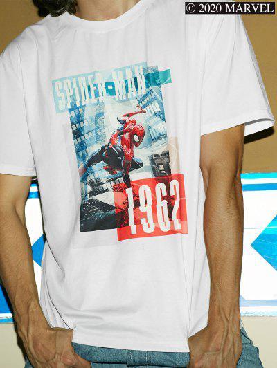 Marvel Spider-Man Photograph Print Short Sleeve T-shirt - White M