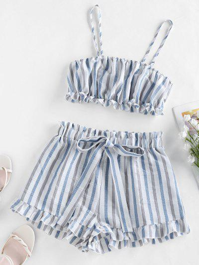 ZAFUL Ruffle Striped Co Ord Set - Multi-a S