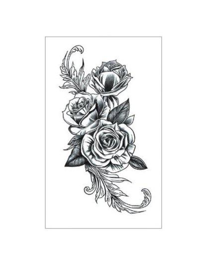 Floral Pattern Tattoo Sticker - Carbon Gray