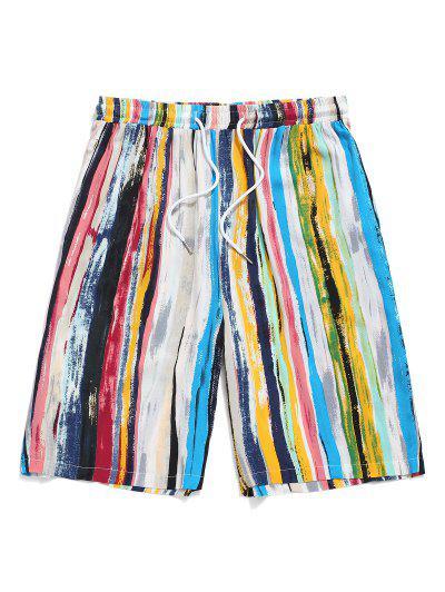 Colorful Striped Print Drawstring Beach Shorts - Light Blue 2xl