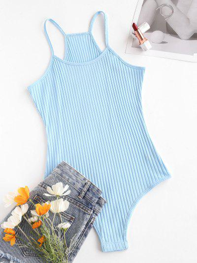 Hook And Loop Fasteners At Gusset Ribbed Bodysuit - Light Blue S