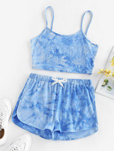 ZAFUL Tie Dye Cami Top And Shorts Set - Light Blue S