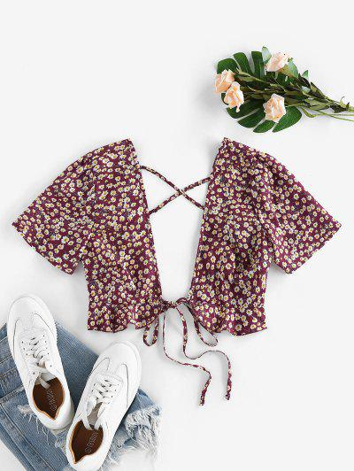 ZAFUL Ditsy Floral Plunging Cross Ruffle Tie Top - Deep Red L