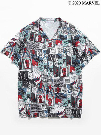 Marvel Spider-Man Allover Print Camp Collar Pocket Shirt - Blue Gray M