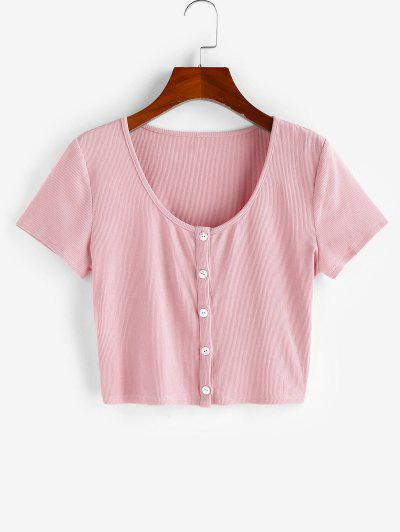 ZAFUL Ribbed Button Up Crop T-shirt - Pink S