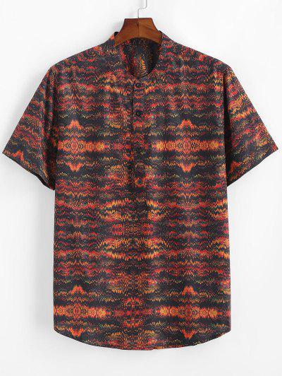 Tribal Print Half Button Short Sleeve Shirt - Multi 2xl