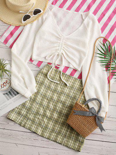 Plaid Cinched Slit Mix And Match Skirt Set - Light Green Xl