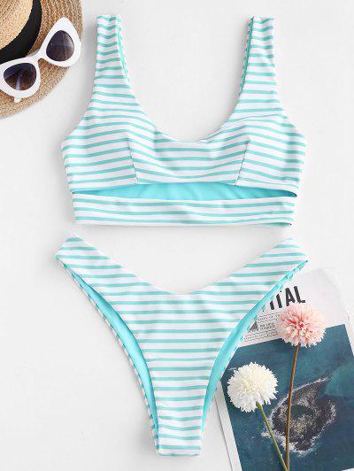 ZAFUL Striped Cutout High Cut Underboob Bikini Swimwear - Light Blue L