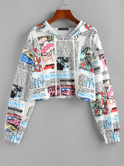 ZAFUL Pop Art Graphic Crop Hoodie - White L