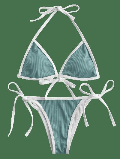 ZAFUL Halter Binding Ribbed String Bikini Swimwear