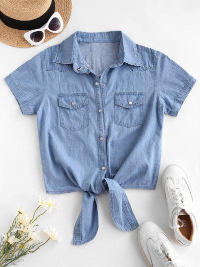 Pocket Button Up Chambray Tie Hem Shirt - Blue S