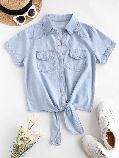 Pocket Button Up Chambray Tie Hem Shirt - Light Blue S