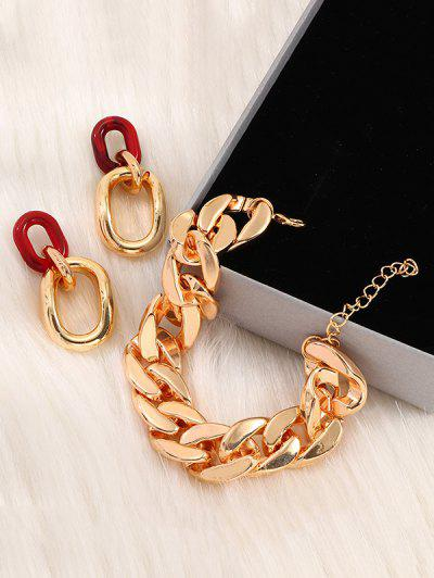 Chain Design Bracelet Earrings Set - Golden