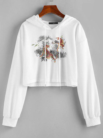 ZAFUL  Drawstring Tiger Print Cropped Hoodie - White S