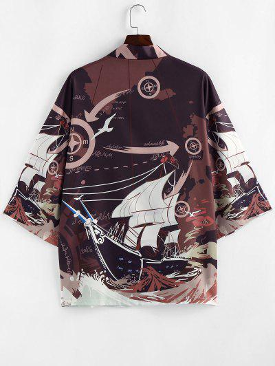 ZAFUL Ocean Waves Boat Nautical Graphic Kimono Cardigan - Deep Coffee Xl