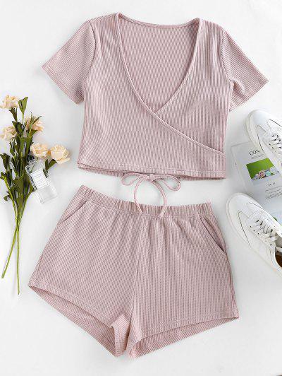 ZAFUL Lounge Knitted Plunging Pocket Shorts Set - Light Pink M
