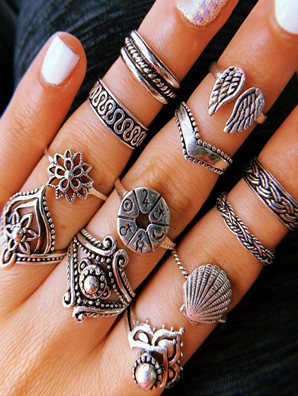 zaful 14Pcs Floral Wings Ring Set