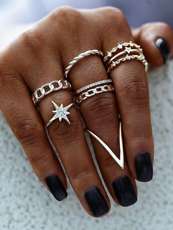 Rhinestone Star Chain Shape Rings Set