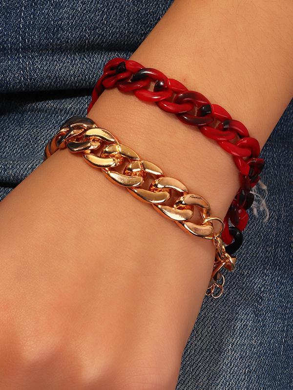 2Pcs Link Chain Bracelet Set