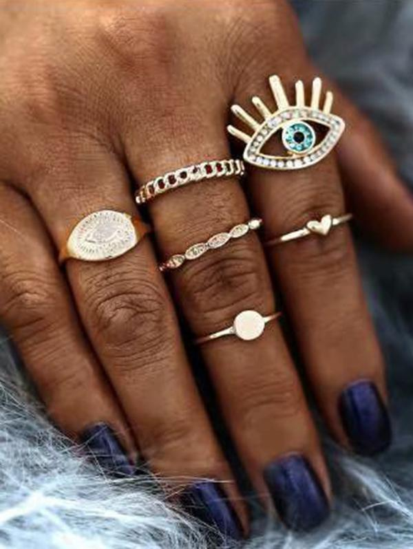 Rhinestone Eye Chain Shape Rings Set