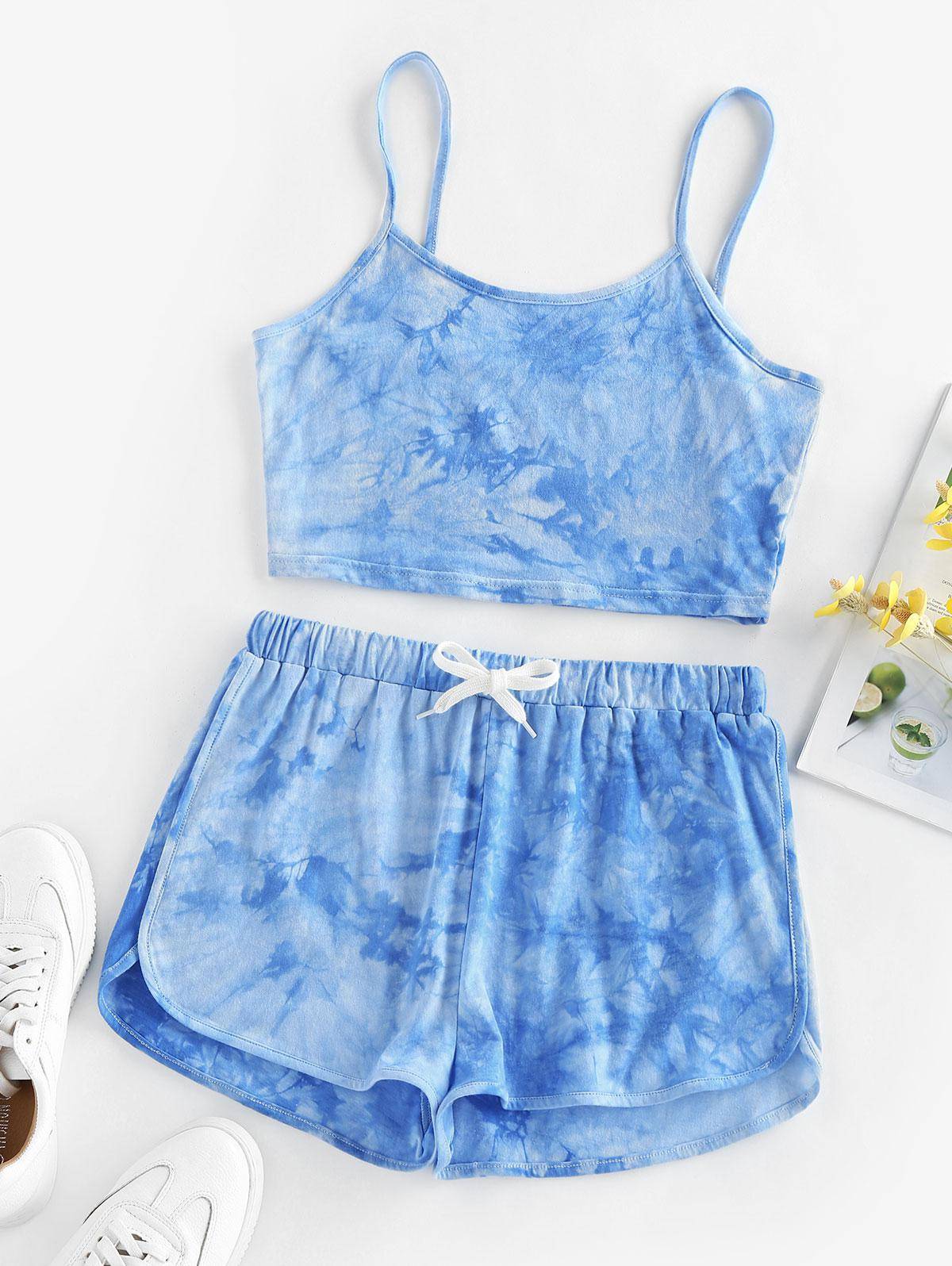 ZAFUL Tie Dye Cami Top and Shorts Set