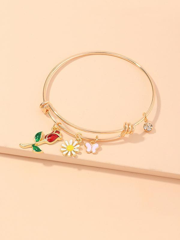 Floral Butterfly Charm Adjustable Bangle Bracelets