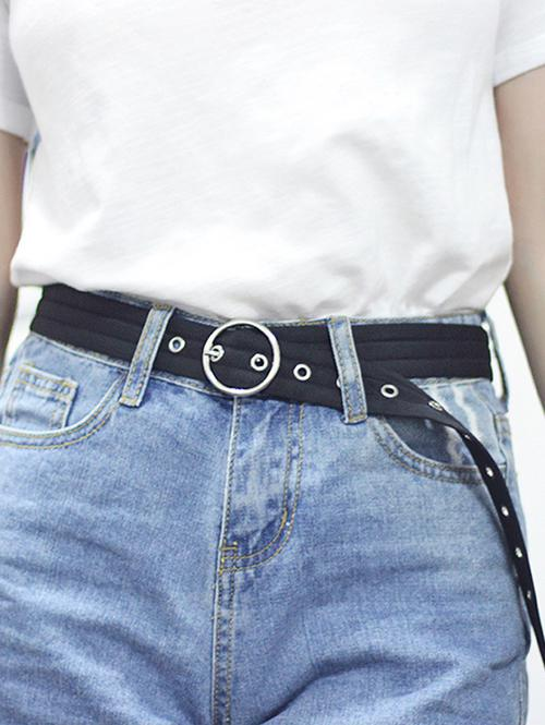 O Ring Canvas Round Buckle Belt