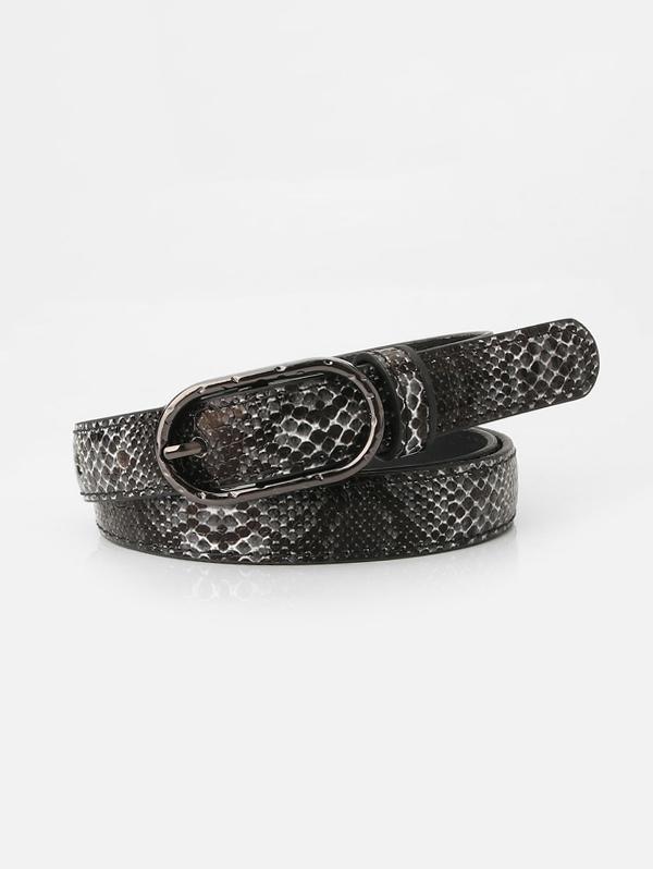 Snakeskin Pattern Jeans Pin Buckle Belt