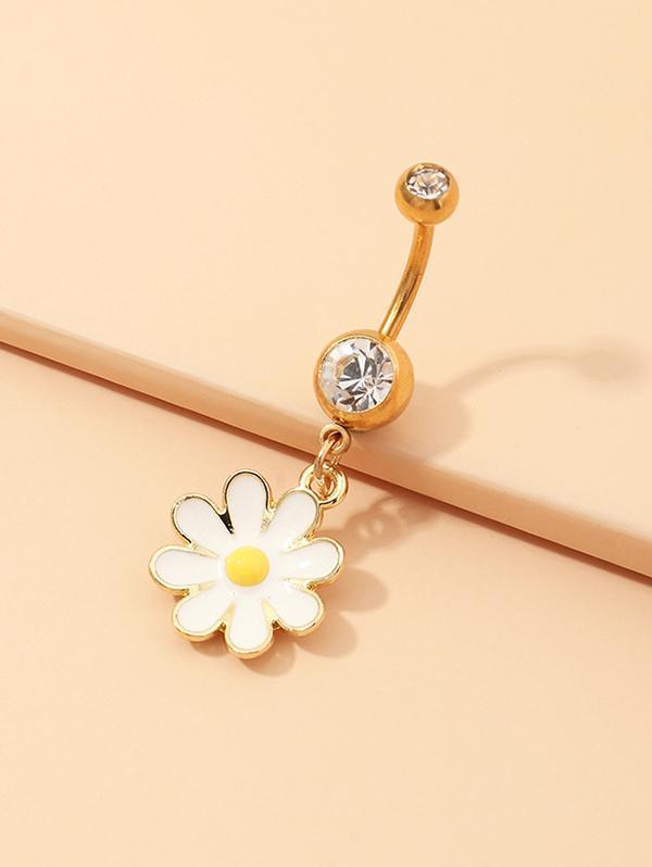 Daisy Floral Rhinestone Navel Ring