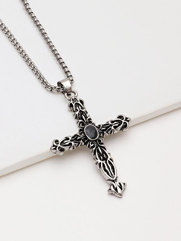 Engraved Cross Pendant Chain Necklace