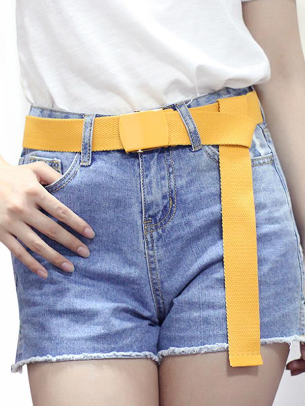 Casual Canvas Solid Buckle Belt