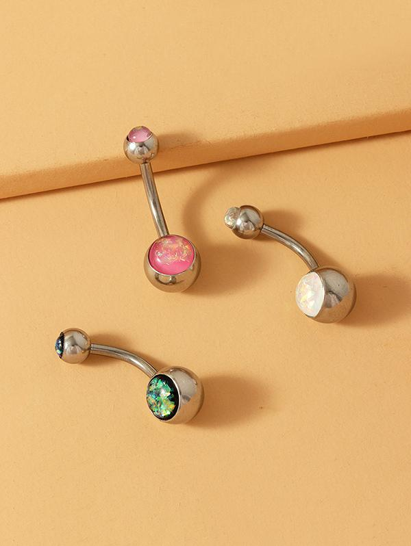 3Pcs Resin Sparkling Navel Ring Set