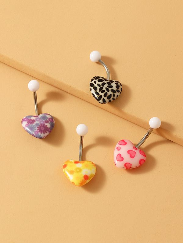4Pcs Heart Shape Navel Ring Set