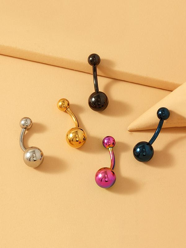 5Pcs Stainless Steel Navel Ring Set